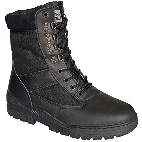 Botas negras piel tipo militar