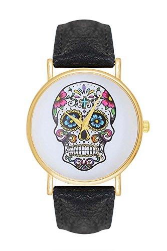 Pulsera calavera skull ghost head tatuaje de tejido de cuero reloj de pulsera reloj para mujer con diseño de calavera pirata anclaje bigote de cuarzo