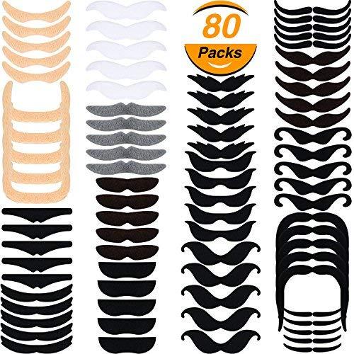 80 piezas de bigote postizo barbas falsas bigotes autoadhesivos de novedad para favores de fiesta materiales de disfraz