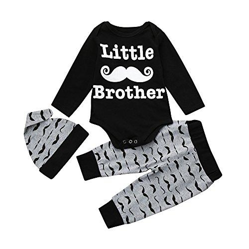 Bebe niño baby bigote carta de tres piezas traje bebés recién nacidos niños bebés estampados ropa romper tops