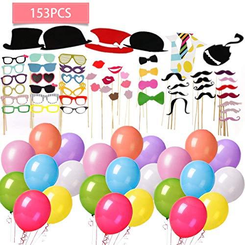 153pcs bigote photo booth props favores de fiesta favorecer incluyendo cumpleaños especiales sombreros graduaciónboda decoraciones de fiesta de navidad de halloween