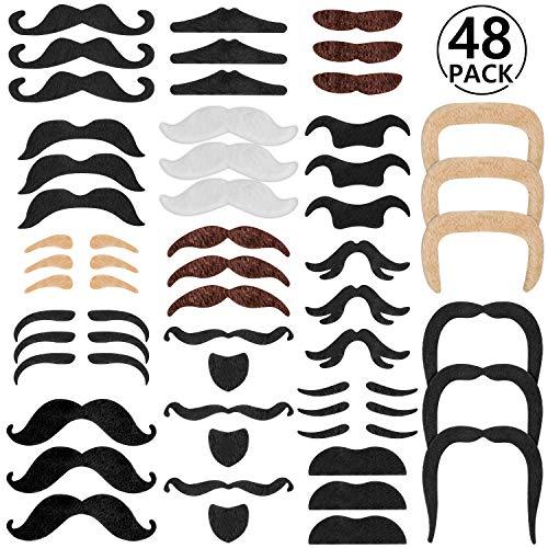 48 pcs bigotes postizos bigotes autoadhesivos para disfraz