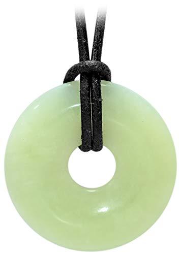 Kaltner präsente unisex-collar con colgante de jade piedrapreciosa lacafetería china correa de piel en el collar de cuero