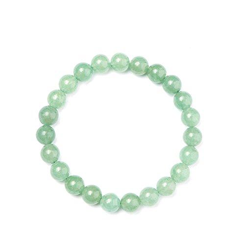 a534c523e928 Hecho a mano gemstone elástico pulsera de perlas de auténtica aventurina  verde jade unisex joyería
