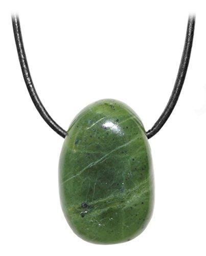 Unisex-collar con colgante de jade piedra piedrapreciosa tambor de canadá en el collar de cuero correa de piel