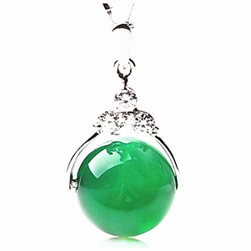 Collar de plata con colgante de piedra de jade verde redonda