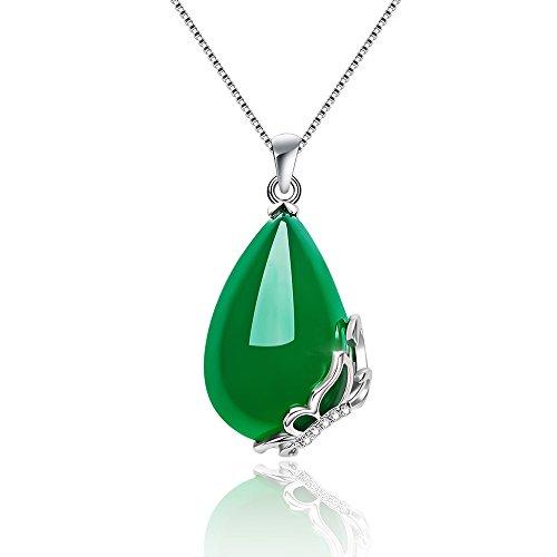 Collar con colgante para mujer en forma de gota de agua en jade verde oscuro natural