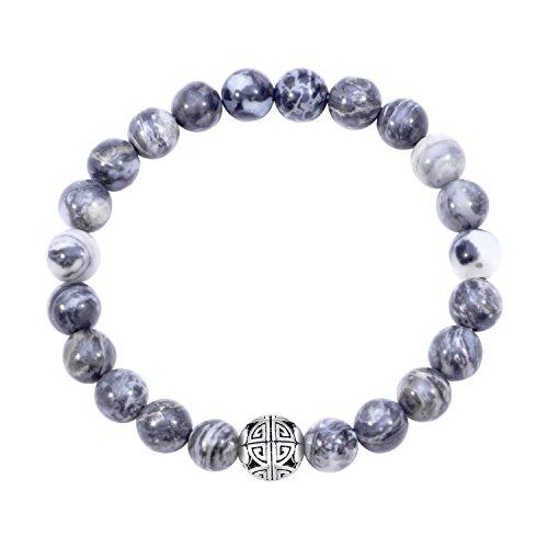 Natural 8mm piedras preciosas curación crystal stretch moldeado pulsera brazalete con plata de ley 925 doble felicidad colgante