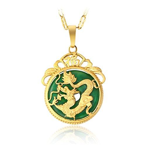 Collar de oro tibetano aaa chino con diseño de dragón y piedra de jade verde de malasia