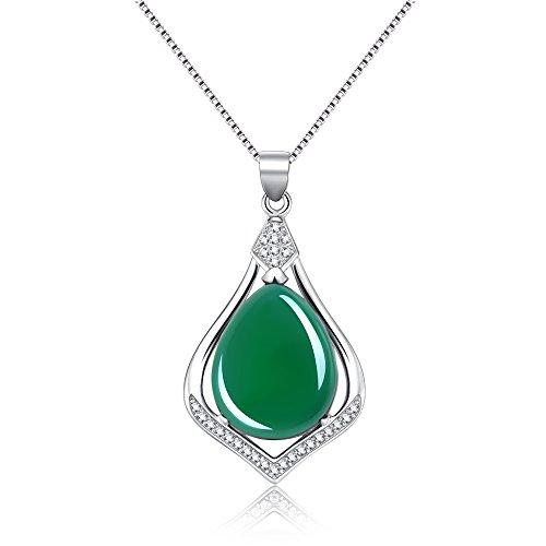 Mujer plata de ley talla pera verde