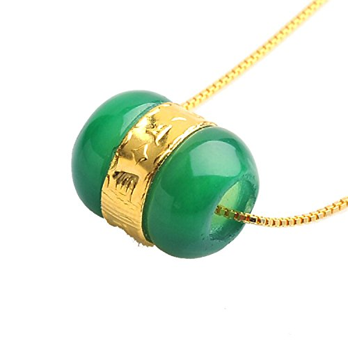 Colgante de oro de 24 k amarillo con piedra de jade natural
