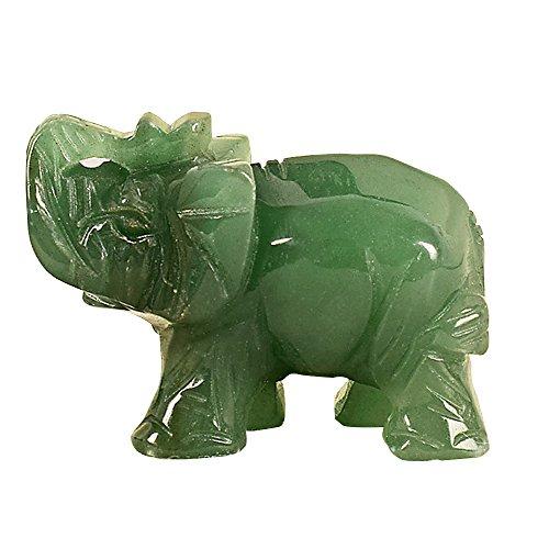 1.5 pulgadas tallado a mano verde aventurina jade stone craving lucky elefante feng shui estatua