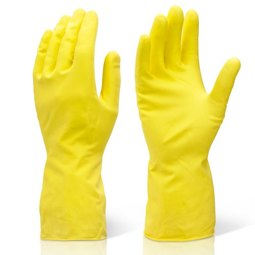 2 pairs of medium yellow heavy duty industrial cleaning & washing up rubber gloves