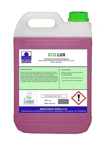 Ecolux detergente superficies ecológico concentrado profesional espumante