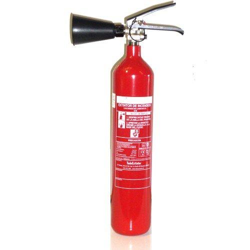 Extintor de 2kg de co2 nuevo eficacia 34 b con soporte de pared y difusor