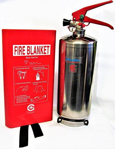 Acabado cromado incluye soporte de plus 2 kg abc polvo seco extintor con manta de fuego