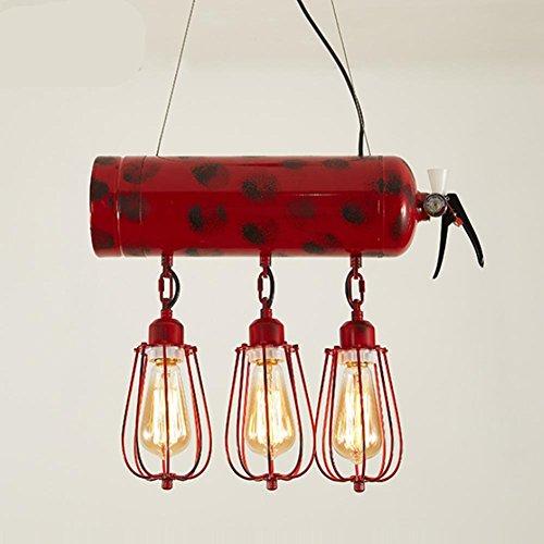 Personalidad creativa loft extintores luz pendiente del hierro lámparas cafe bar sala industria retro 3 cabezas de lámpara colgante