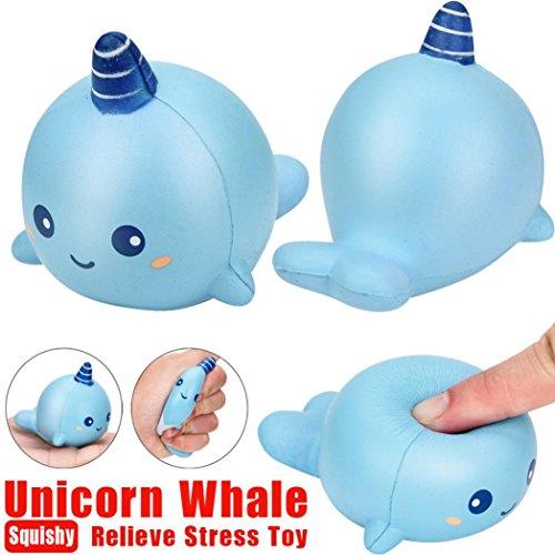 Juguetes apretados,8 cm unicornio ballena caricatura perfumado encanto blando de aumento lento apretón juguete encanto lmmvp