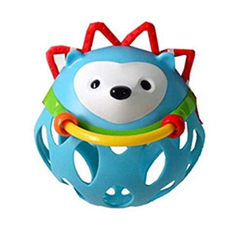 Linda mano-agitar el anillo de la campana de bolas de juguete sonajero plástico animal shaker de juguete para el bebé