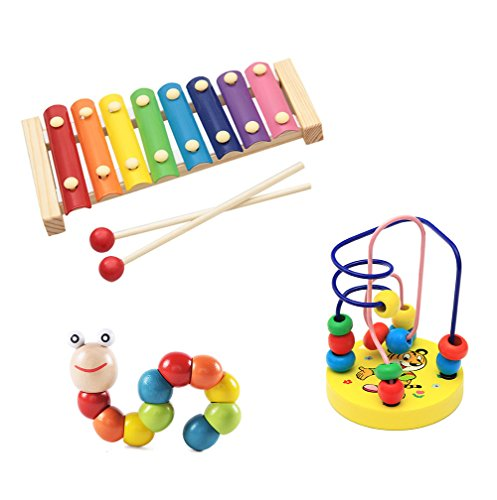 3pcs xilófono juguete de madera de instrumento musical
