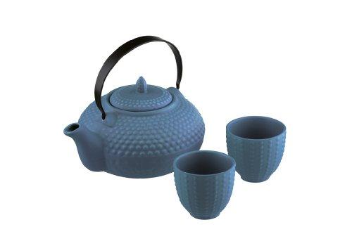 Tetera de tacos y dos tazas mizu oriental azules