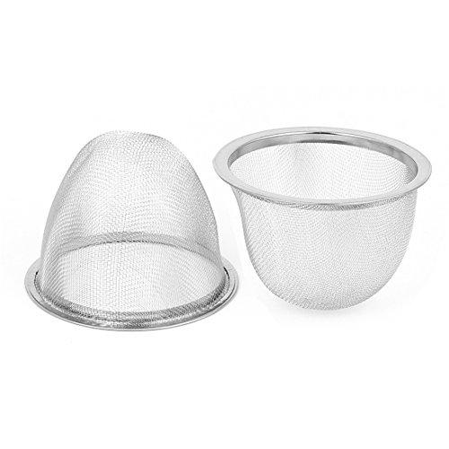 Red de malla de metal cesta del filtro colador de té tetera de 70 mm de diámetro y 2 piezas