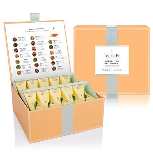 Caja de té herbal surtido de degustación 40 infusores de té con forma de pirámide hechos a mano de te forte