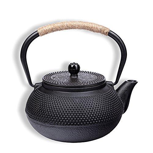 Tetera de hierro fundido 900 ml tetera asiáticas jarras tetera estilo japonés incluye colador de té negro estructura granulada