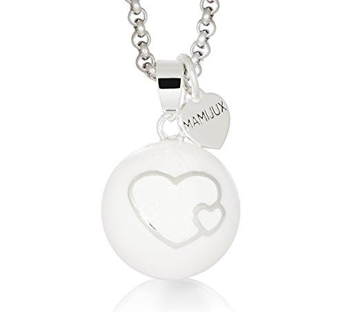 Llamador de ángeles mamijux esmaltado blanco con corazones y con cadena de acero