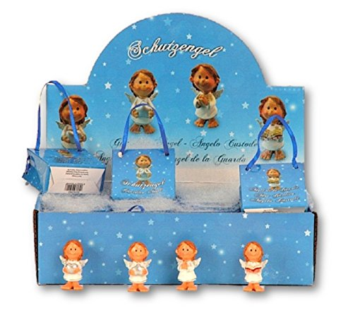 Gran pantalla con 24 figuras de ángel alas de ángel de la guarda en bolsitas de regalo bautizo nacimiento oro envejecido putte boda navidad decoración oración recuerdos gardian angel
