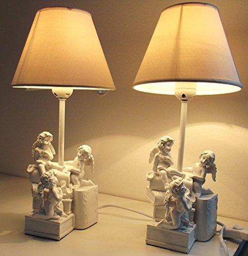Juego de 2 lámparas de noche mesa con ángeles 38 cm 2083