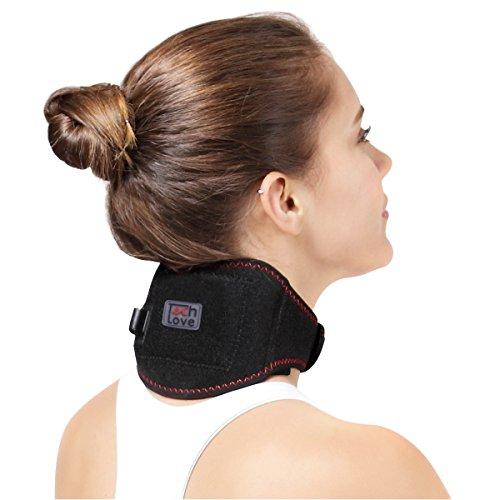 Cuello calefactado calefacción cervical wrap por techlove con moxa bag para hombres y mujeres sufren lesión en el cuello