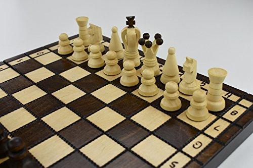 Hecho a mano juego de ajedrez madera 31 x 31 figuras woodeeworld