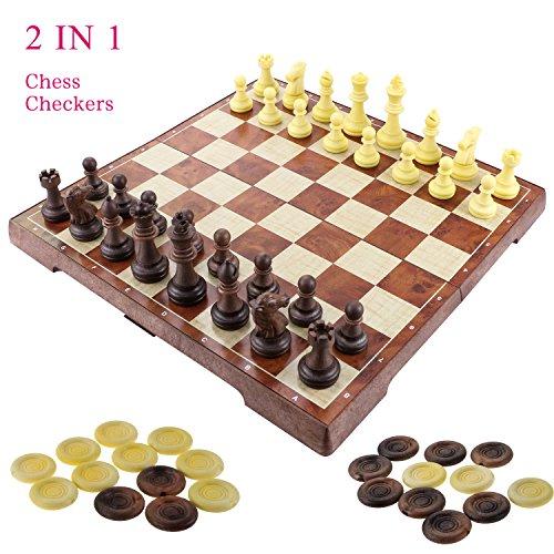 2 en 1 juego de ajedrez-12 «x12» ajedrez de madera y damas conjunto con portátiles plegables de almacenamiento de viaje de ajedrez tablero de juego
