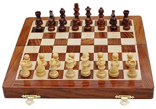 Tablero de madera y ajuste las piezas ajedrez magnético plegable viaje juegos 25 x 25 cm