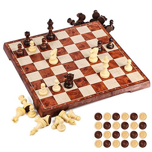 Tablero ajedrez magnetico,2 en 1 ajedrez y damas en estuche con portátil de tablero plegable para niños y adultos