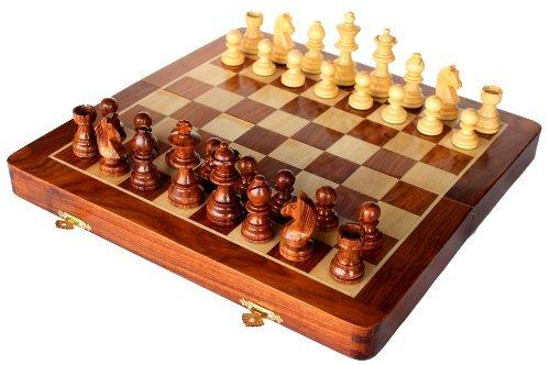 Conjunto de ajedrez hecho a mano madera premium 26 x 26 cm