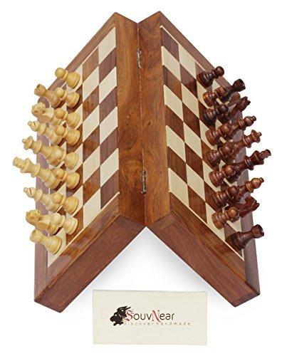 35,56 x 35,56 cm plegable staunton deluxe juego de ajedrez en bellas palo de rosa