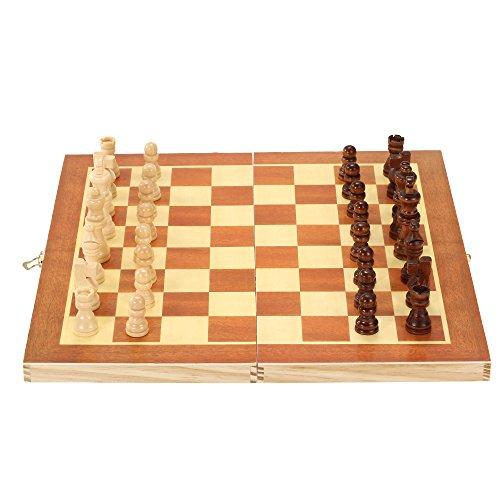 Ajedrez de madera conjunto internacional de entretenimiento juego de ajedrez con tablero plegable