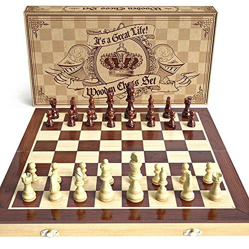 Set de ajedrez de madera: set de juego de mesa de ajedrez estándar universal