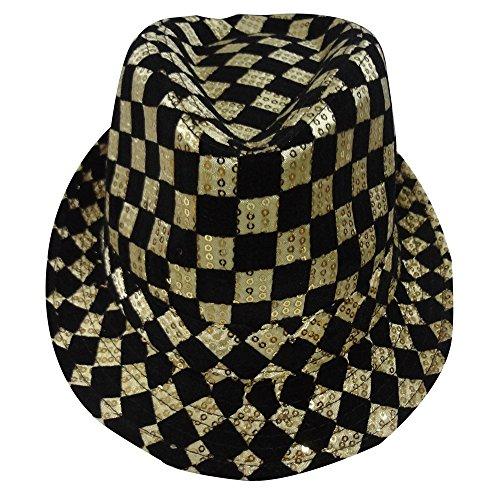 Sombrero fedora con tablero de ajedrez de oro para adultos