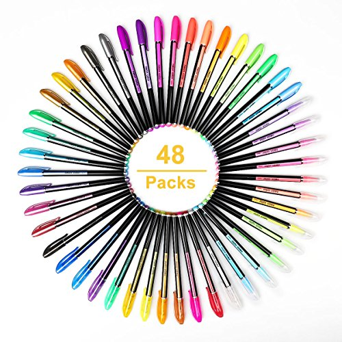 48 colores bolígrafos de gel para colorear adultos