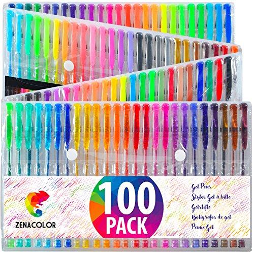 100 bolígrafos de gel zenacolor con estuche