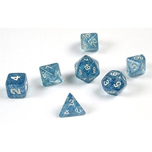 7 dados poliédricos en azul rutilar para juegos de rol y mesa