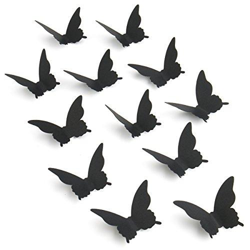 100p 3d papel negro mariposa pegatinas de pared decors