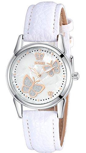 Mariposa elegante mujer reloj analógico de cuarzo con nácar dial