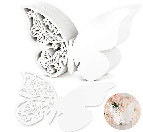 100 piezas shimmer cortado con láser color blanco mariposa nombre lugar tarjeta para boda champán/copas de vino