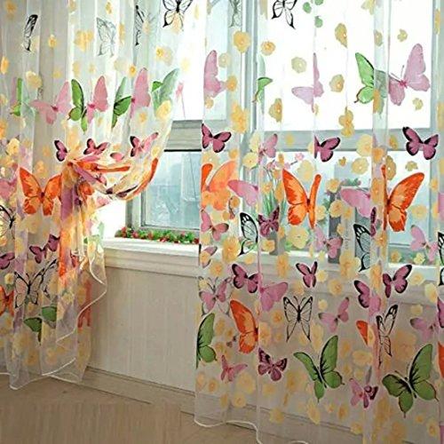 Mariposa floral cortinas visillos gasa de tulle de la cortina de ventana 100×200