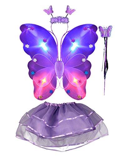 Led ala de mariposa 4pcs disfraz luminoso de mariposa para niñas