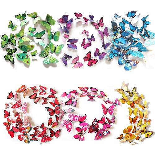 72 piezas 3d mariposa pegatinas de pared etiquetas engomadas mariposas decoración de la pared para hogar habitación casa